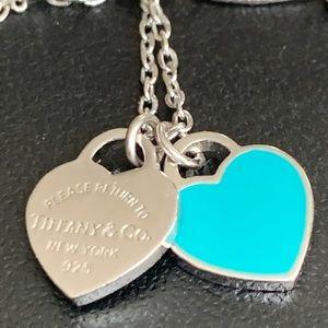 Vintage Mini Double Heart Tag Necklace